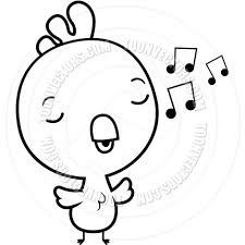 cartoon baby rooster singing black and white line art by cory