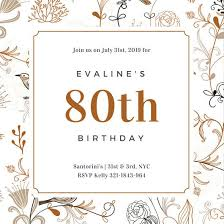 elegant floral patterned 80th birthday invitation templates by canva