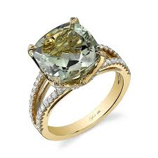 green amethyst engagement ring glamorous cushion cut green amethyst and diamond ring