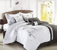 luxury bedding 8pc luxury bedding set abq black gray white bed in a bag