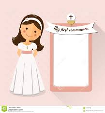 Holy Communion Invitation Cards Samples My First Communion Invitation With Message Stock Vector Image