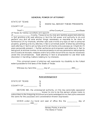 Medical Power Of Attorney Texas Form by Texas Power Of Attorney Form Free Templates In Pdf Word Excel