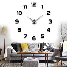 modern arabic numbers 3d frameless large wall clock style watches
