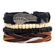 leather bracelet cuff women images Angel wings feather leather bracelets men for women vantology jpg