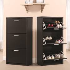 Hallway Shoe Storage Cabinet Contemporary Hallway With Black Wooden 3 Drawer Shoe Rack