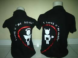 wallpaper baju couple polo couple devil n angel hitam b www dizlees com
