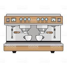 espresso coffee clipart professional coffee machine metallic colors in a flat style stock