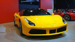ferrari yellow ferrari 488 gtb yellow sports car on display at the ferrari stand