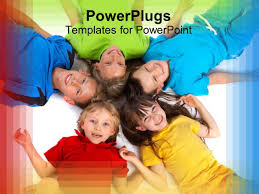 powerpoint template five smiling children lying in circle with
