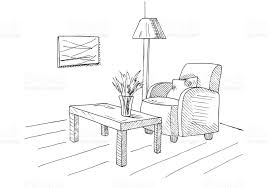 armchair table with a vase floor lamp hand drawn vector