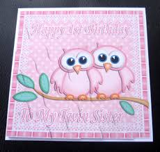 happy 1st birthday to my twin sister owls card pink or pink