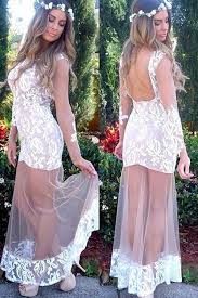 round neck ankle length long sleeves white bodycon party prom