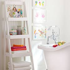 Bathroom White Shelves Cottage Bathroom Look Add This Bathroom Ladder Shelf Homesfeed