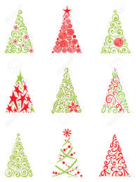 Christmas Tree Images Clipart Set Of Modern Christmas Trees Royalty Free Cliparts Vectors And