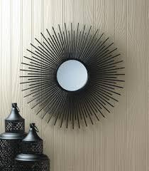 wholesale black wrought iron bursting sun wall mirror modern iron