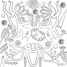 huichol art sun scorpion and snakes coloring page free