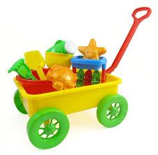 beach wagon toy set for kids with sand wheel bucket shovel rake