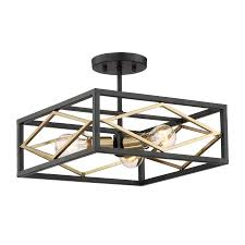 gold ceiling light fixtures shop quoizel platform 14 in w black with gold no glass semi flush
