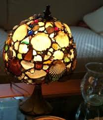 shells and beach glass lamp