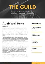 yellow building photo employee newsletter templates by canva
