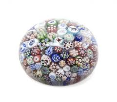 1847 antique baccarat crystal millefiori glass paperweight with