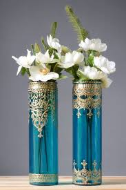 Bohemian Vase Bohemian Bud Vases Tall Cylinder Glass Aquamarine Glass With