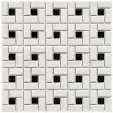 merola tile spiral black and white 12 1 2 in x 12 1 2 in x 6 mm