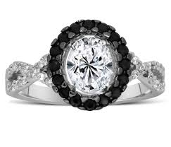 Black Wedding Rings For Her by Unique 1 Carat Black And White Oval Diamond Halo Engagement Ring