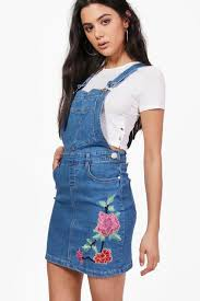 shana flower embroidered denim pinafore dress boohoo