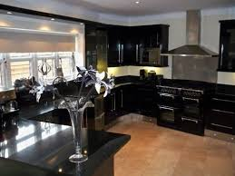black gloss kitchen ideas black high gloss kitchen cabinets with black granite countertops