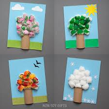 four season tree craft with cotton balls non gifts