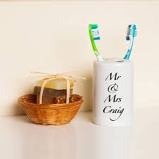 New Home Gift by Personalised Toothbrush Holder Wedding Or New Home Gift By Treacle