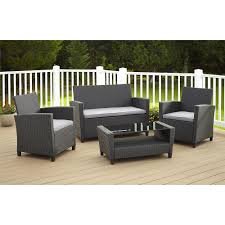 Outdoor Wicker Chairs With Cushions Hampton Bay Corranade 5 Piece Wicker Patio Conversation Set With