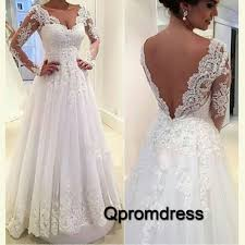 wedding and prom dresses white lace sleeves open back wedding dress prom dress