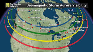 northern lights location map the northern lights will be visible across the skies in canada