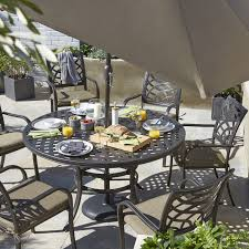 Metal Garden Table And Chairs Uk Ripley Metal 6 Seater Dining Set Departments Diy At B U0026q