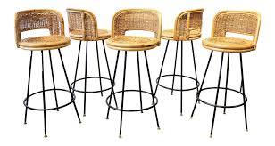 rattan u0026 wrought iron bar stools set of 5 chairish