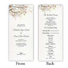 fall wedding programs program tea length a j s prints