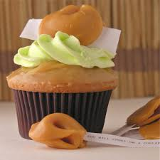 caramel apple cupcakes with halloween misfortune cookies