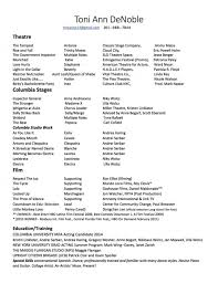 Actor Resume Samples by Special Skills Acting Resume List 9024