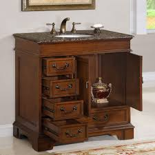 elegant hardwood bathroom cabinet with massive drawers combined