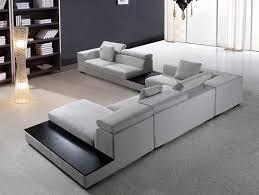 Modern Sectional Sofa Grey Microfiber VG Fort  Fabric - Fabric modern sofa