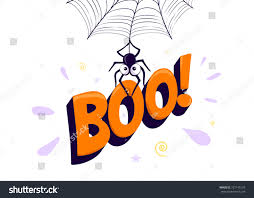 vector illustration halloween boo cartoon spider stock vector