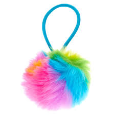 2 pack rainbow pom pom hair ties s