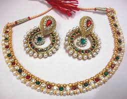 green color necklace set images Buy maroon green pearl polki necklace set online JPG