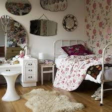 bedroom vintage bedroom decorating ideas for teenage girls with vintage bedroom decorating ideas for teenage girls with floral wallpaper with cowhade rug also white makeup vanity set and round mirror besides stool wooden