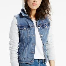 jean sweater jacket s levi s legacy mixed media hooded jean jacket polyvore