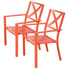 Orange Chair 2 Pcs Outdoor Patio Slat Chair With Armrest Outdoor Chairs