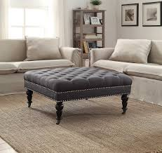 coffee tables gray leather coffee table round cocktail ottoman