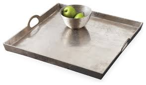 morton square mixed silver metal contemporary serving tray